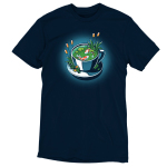Cup of Koi t-shirt TeeTurtle navy t-shirt featuring a white tea cup with two orange and white koi fish swimming in it with lily pads and plants in the tea cup with the fish and on the plate the tea cup is on