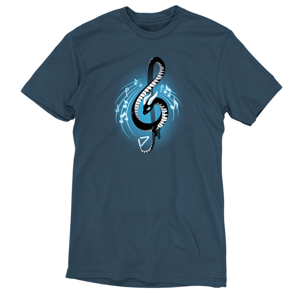 Musical Dragon t-shirt TeeTurtle denim blue t-shirt featuring a black curvy dragon in the shape of a musical note with a piano pattern on its body with musical notes around it