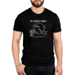 Gaming Moods Men's t-shirt model TeeTurtle black t-shirt featuring a gray cat with a long pointer in its hand pointing at a chalk pie chart behind him with a big chunk labeled