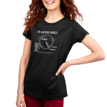 Gaming Moods Women's t-shirt model TeeTurtle black t-shirt featuring a gray cat with a long pointer in its hand pointing at a chalk pie chart behind him with a big chunk labeled