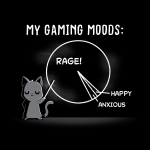 Gaming Moods t-shirt TeeTurtle black t-shirt featuring a gray cat with a long pointer in its hand pointing at a chalk pie chart behind him with a big chunk labeled