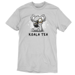 Koala Tea t-shirt TeeTurtle silver t-shirt featuring a light gray koala with its eyes closed sipping from a dark charcoal mug with a tea bag string hanging down it a monocle on its eye