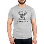 Koala Tea Men's t-shirt model TeeTurtle silver t-shirt featuring a light gray koala with its eyes closed sipping from a dark charcoal mug with a tea bag string hanging down it a monocle on its eye
