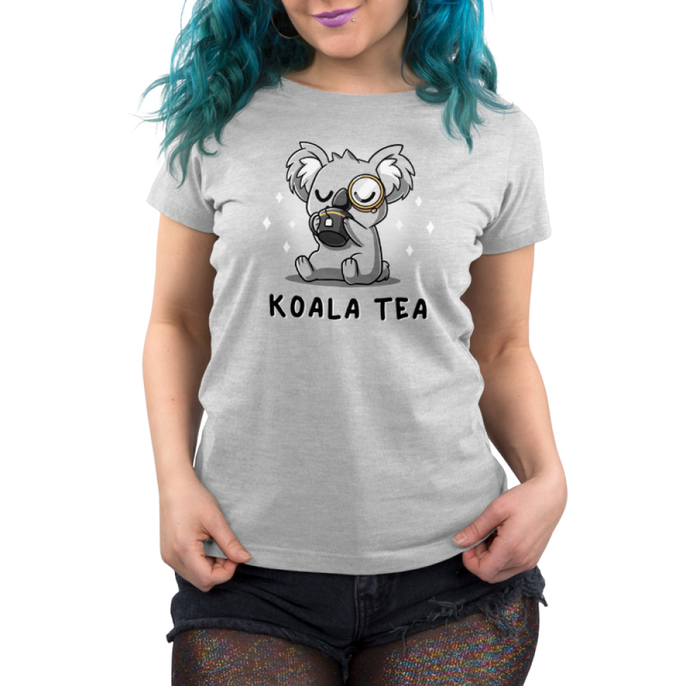 Koala Tea Women's t-shirt model TeeTurtle silver t-shirt featuring a light gray koala with its eyes closed sipping from a dark charcoal mug with a tea bag string hanging down it a monocle on its eye