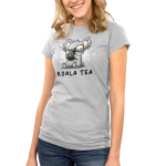 Koala Tea Junior's t-shirt model TeeTurtle silver t-shirt featuring a light gray koala with its eyes closed sipping from a dark charcoal mug with a tea bag string hanging down it a monocle on its eye