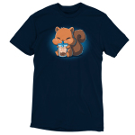 Boba Squirrel t-shirt navy t-shirt featuring a cute brown squirrel with big chubby cheeks sitting down with its arms and feed holding a big boba cup which its drinking out of