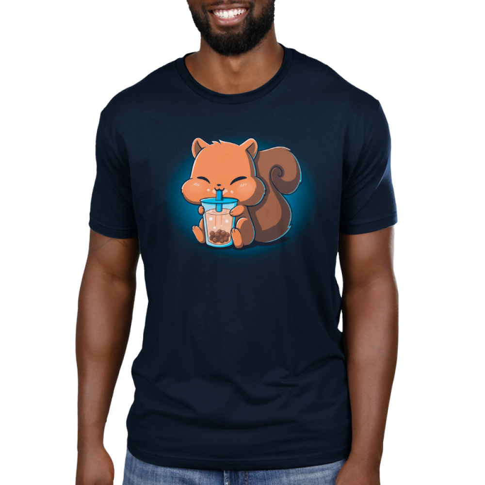Boba Squirrel Men's t-shirt model navy t-shirt featuring a cute brown squirrel with big chubby cheeks sitting down with its arms and feed holding a big boba cup which its drinking out of