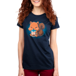 Boba Squirrel Women's t-shirt model navy t-shirt featuring a cute brown squirrel with big chubby cheeks sitting down with its arms and feed holding a big boba cup which its drinking out of