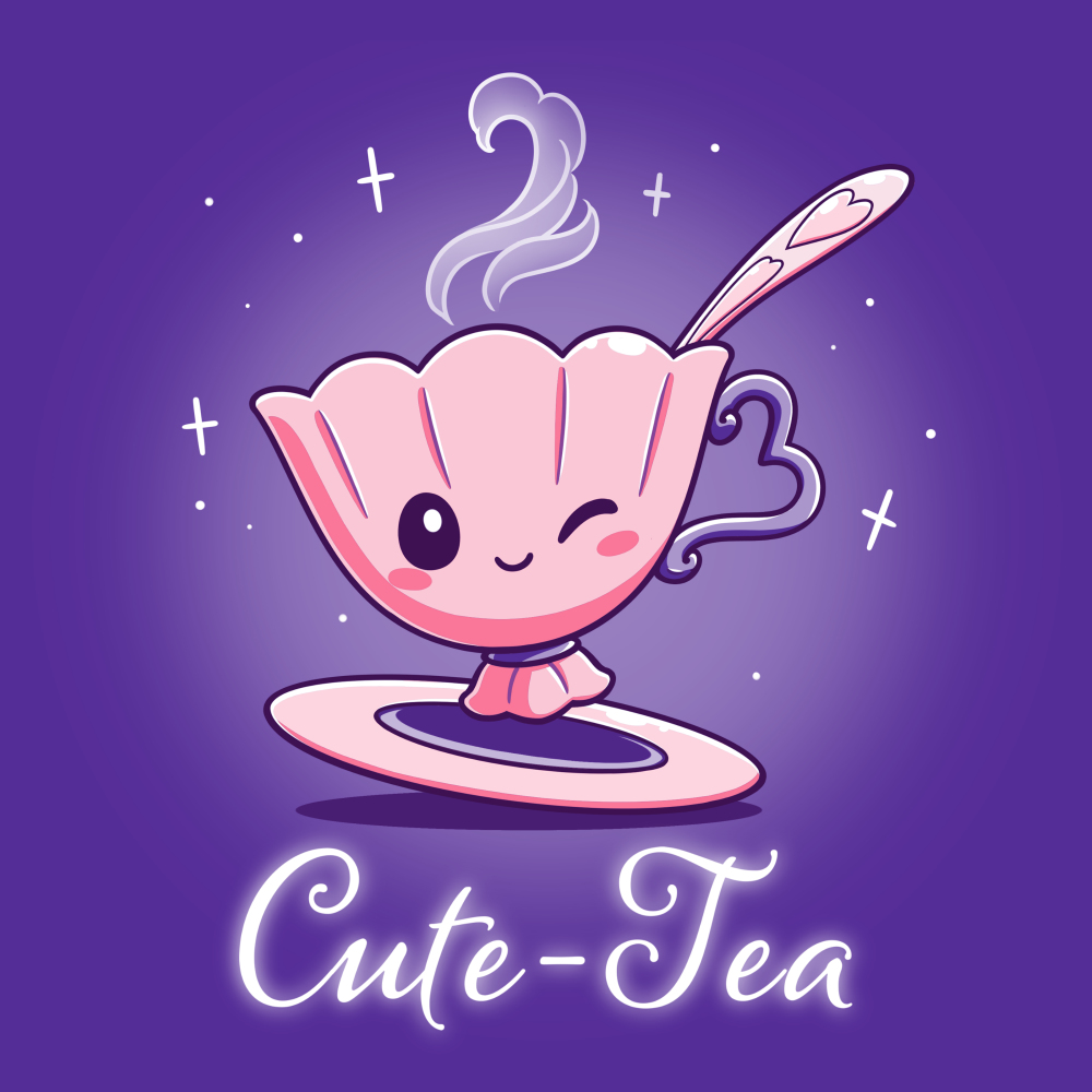 Cute-Tea t-shirt TeeTurtle purple t-shirt featuring a cute little pink tea cup with a pink saucer and pink spook smiling and giving a wink with steam coming out of its cup and sparkles behind them