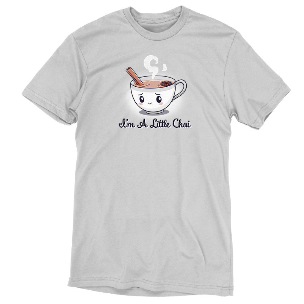 I'm a Little Chai t-shirt TeeTurtle silver t-shirt featuring a little white cup of chai tea with an anxious smile on its face with a cinnamon stick sticking out of its cup