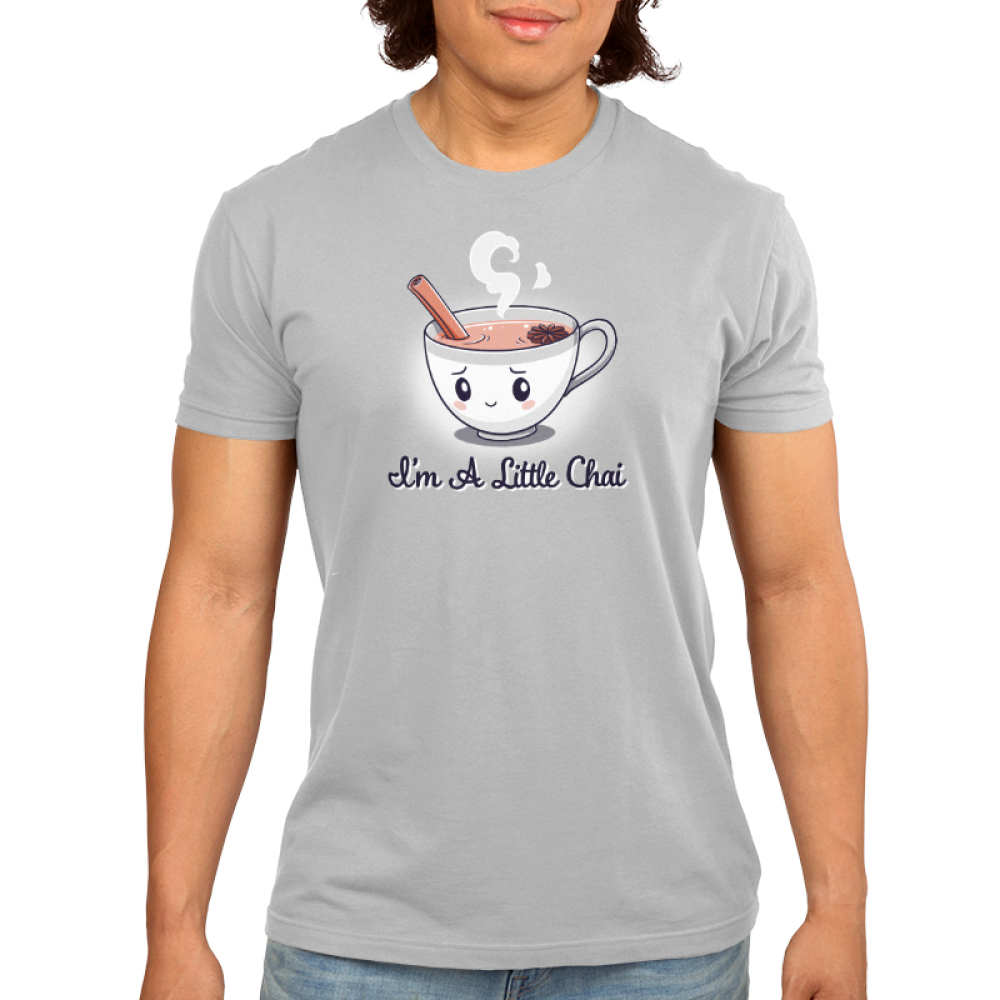 I'm a Little Chai Men's t-shirt model TeeTurtle silver t-shirt featuring a little white cup of chai tea with an anxious smile on its face with a cinnamon stick sticking out of its cup