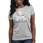 I'm a Little Chai Women's t-shirt model TeeTurtle silver t-shirt featuring a little white cup of chai tea with an anxious smile on its face with a cinnamon stick sticking out of its cup