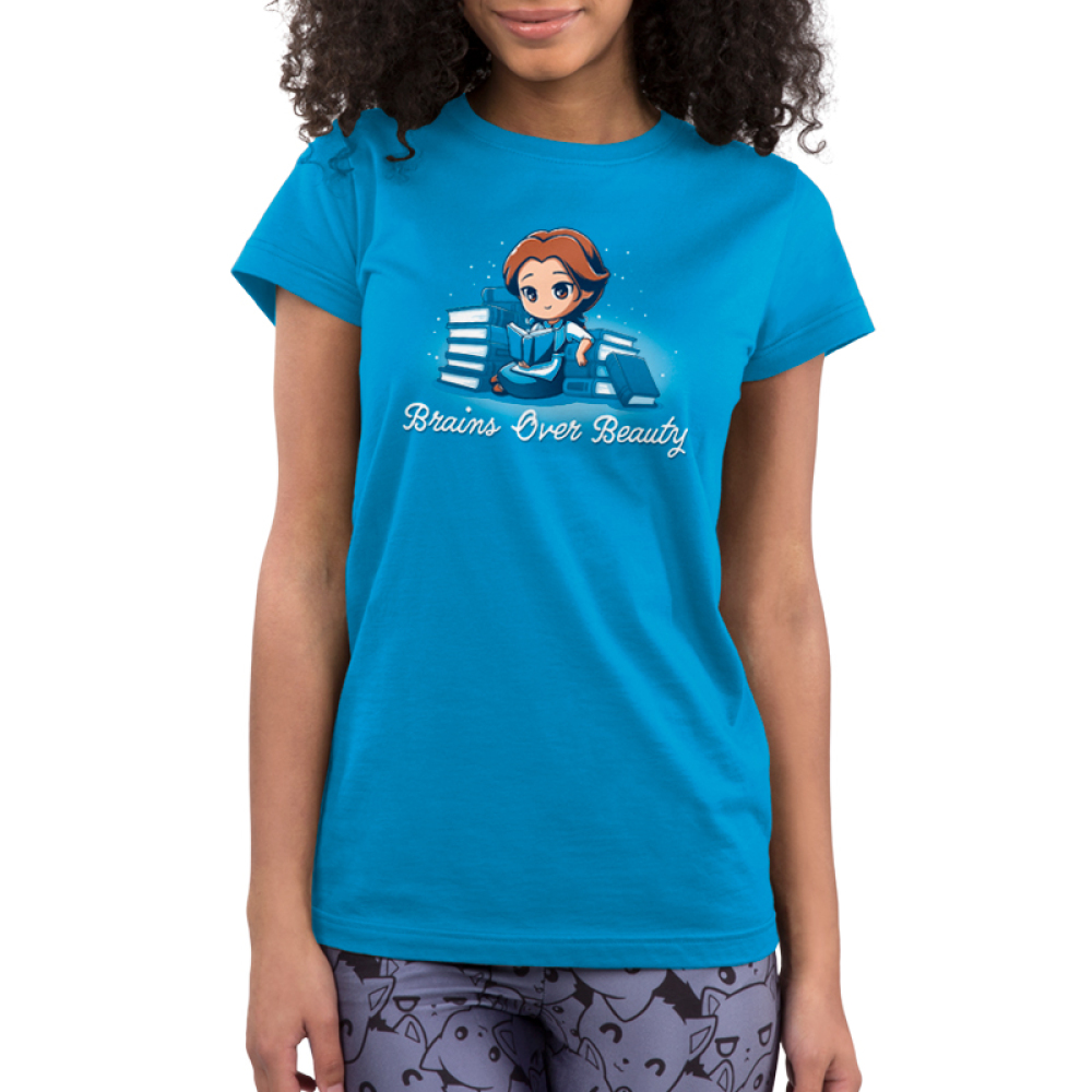 Brains Over Beauty juniors tshirt model officially licensed cobalt blue tshirt featuring Belle reading and surrounded by books