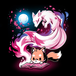 Tale of Tails t-shirt TeeTurtle black t-shirt featuring a little orange fox hunched over reaching a book on the ground with a big swirly pink kitsune coming out of the book with branches with pink leaves by the kitsune and a white full behind them
