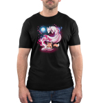 Tale of Tails Men's t-shirt model TeeTurtle black t-shirt featuring a little orange fox hunched over reaching a book on the ground with a big swirly pink kitsune coming out of the book with branches with pink leaves by the kitsune and a white full behind them