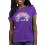 Rainboba Women's t-shirt model TeeTurtle purple t-shirt featuring a rainbow in the background with 6 boba cups in front of its shape all in different colors of the rainbow and animals within the cups, purple with panda, pink with cat, orange with fox, yellow with axolotl, green with unicorn, and blue with bunny