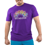 Rainboba Men's t-shirt model TeeTurtle purple t-shirt featuring a rainbow in the background with 6 boba cups in front of its shape all in different colors of the rainbow and animals within the cups, purple with panda, pink with cat, orange with fox, yellow with axolotl, green with unicorn, and blue with bunny