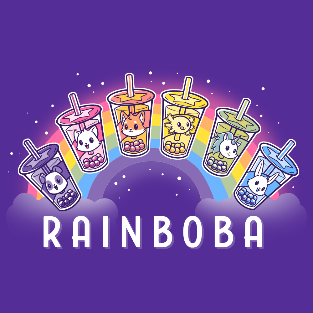 Rainboba t-shirt TeeTurtle purple t-shirt featuring a rainbow in the background with 6 boba cups in front of its shape all in different colors of the rainbow and animals within the cups, purple with panda, pink with cat, orange with fox, yellow with axolotl, green with unicorn, and blue with bunny