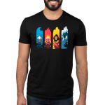 Elemental Villains mens tshirt model officially licensed black tshirt featuring ursula, hades, scar and maleficent in their most elemental states seperated by water, fire, earth, and air