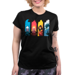 Elemental Villains womens tshirt model officially licensed black tshirt featuring ursula, hades, scar and maleficent in their most elemental states seperated by water, fire, earth, and air