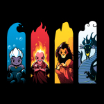 Elemental Villains tshirt officially licensed black tshirt featuring ursula, hades, scar and maleficent in their most elemental states seperated by water, fire, earth, and air
