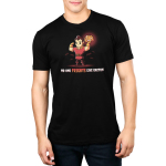 No One Frights Like Gaston mens tshirt model officially licensed black tshirt featuring gaston flexing with a pumpkin