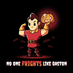 No One Frights Like Gaston tshirt officially licensed black tshirt featuring gaston flexing with a pumpkin
