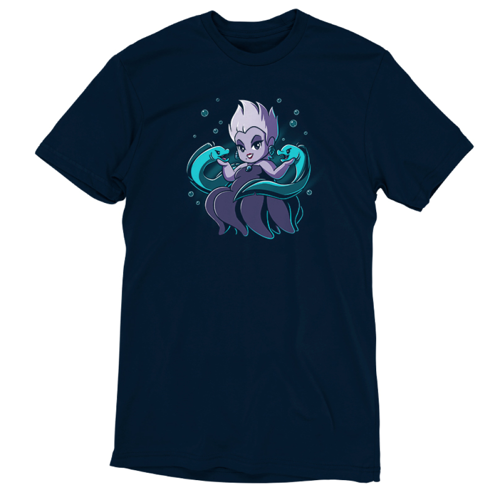 Ursula & Flotsam and Jetsam tshirt officially licensed navy tshirt featuring Ursula with her eel pals