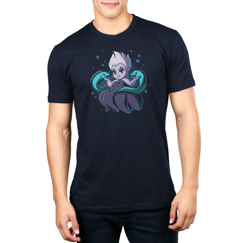 Ursula & Flotsam and Jetsam mens tshirt model  officially licensed navy tshirt featuring Ursula with her eel pals