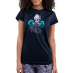 Ursula & Flotsam and Jetsam juniors tshirt model  officially licensed navy tshirt featuring Ursula with her eel pals