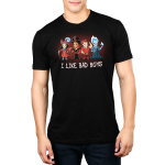 I Like Bad Boys (Villains) mens tshirt model  officially licensed black tshirt featuring hook, jafar, gaston, and hades all lined up