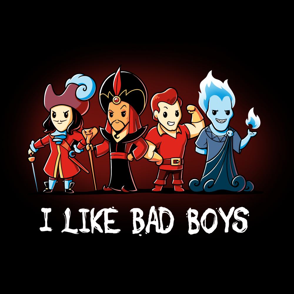 I Like Bad Boys (Villains) tshirt officially licensed black tshirt featuring hook, jafar, gaston, and hades all lined up