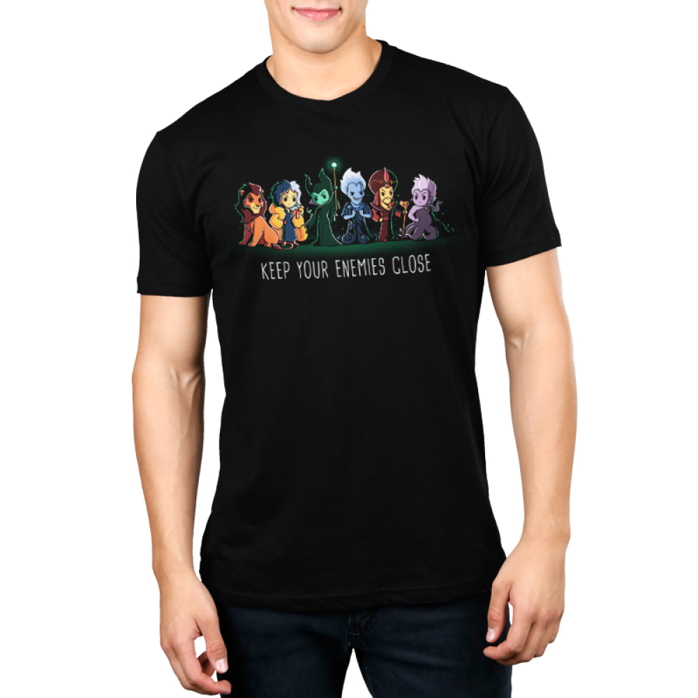 Keep Your Enemies Close mens tshirt model  officially licensed black tshirt featuring scar, cruella, maleficent, hades, jafar, and ursula all lined up