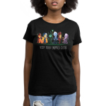 Keep Your Enemies Close womens tshirt model  officially licensed black tshirt featuring scar, cruella, maleficent, hades, jafar, and ursula all lined up