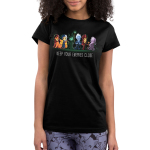 Keep Your Enemies Close juniors tshirt model  officially licensed black tshirt featuring scar, cruella, maleficent, hades, jafar, and ursula all lined up