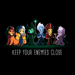 Keep Your Enemies Close tshirt officially licensed black tshirt featuring scar, cruella, maleficent, hades, jafar, and ursula all lined up
