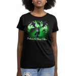 Embrace The Beast Within (Maleficent)  womens tshirt model officially licensed black tshirt featuring Maleficent conjuring her dragon with green flames around her
