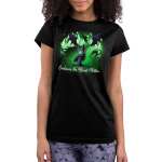 Embrace The Beast Within (Maleficent)  juniors tshirt model officially licensed black tshirt featuring Maleficent conjuring her dragon with green flames around her