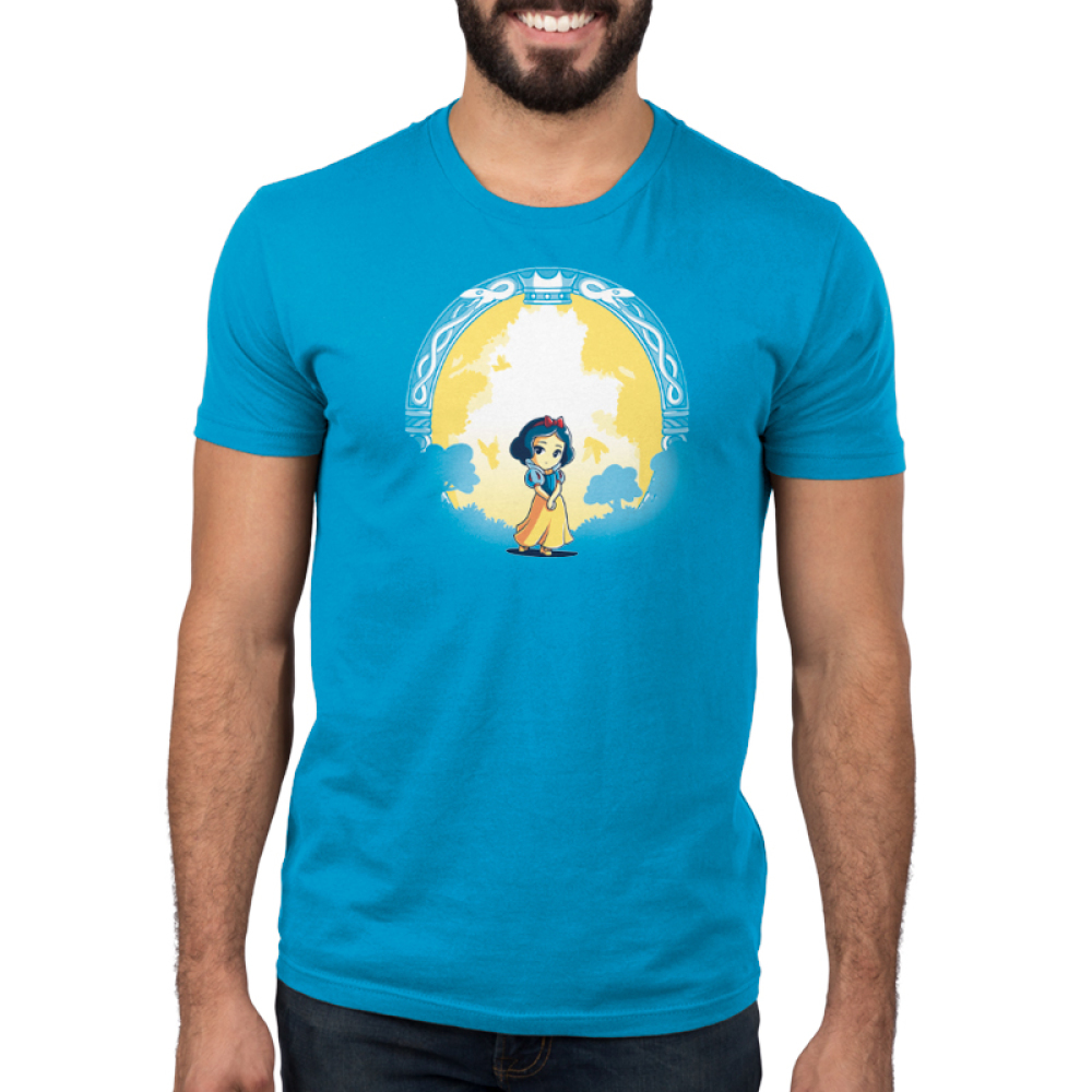 Snow White & the Evil Queen (glow) mens tshirt model  officially licensed cobalt blue tshirt featuring snow white and the evil queen shows up in the dark glowing behind her