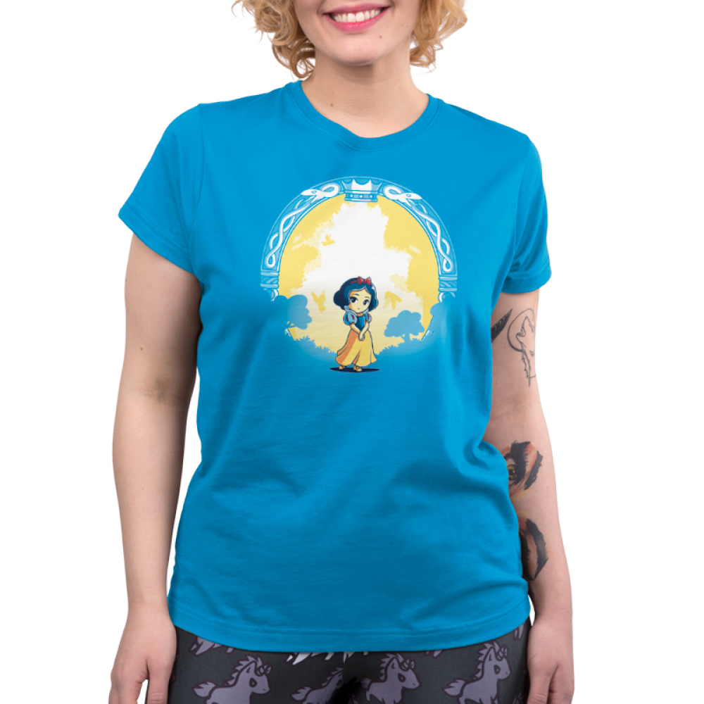 Snow White & the Evil Queen (glow) womens tshirt model  officially licensed cobalt blue tshirt featuring snow white and the evil queen shows up in the dark glowing behind her