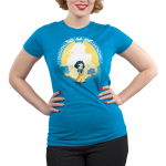 Snow White & the Evil Queen (glow) juniors tshirt model  officially licensed cobalt blue tshirt featuring snow white and the evil queen shows up in the dark glowing behind her