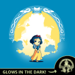 Snow White & the Evil Queen (glow) tshirt officially licensed cobalt blue tshirt featuring snow white and the evil queen shows up in the dark glowing behind her