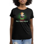 Pick your poison womens tshirt model  officially licensed black tshirt featuring the evil queen from snow white with a bucket of poison apples