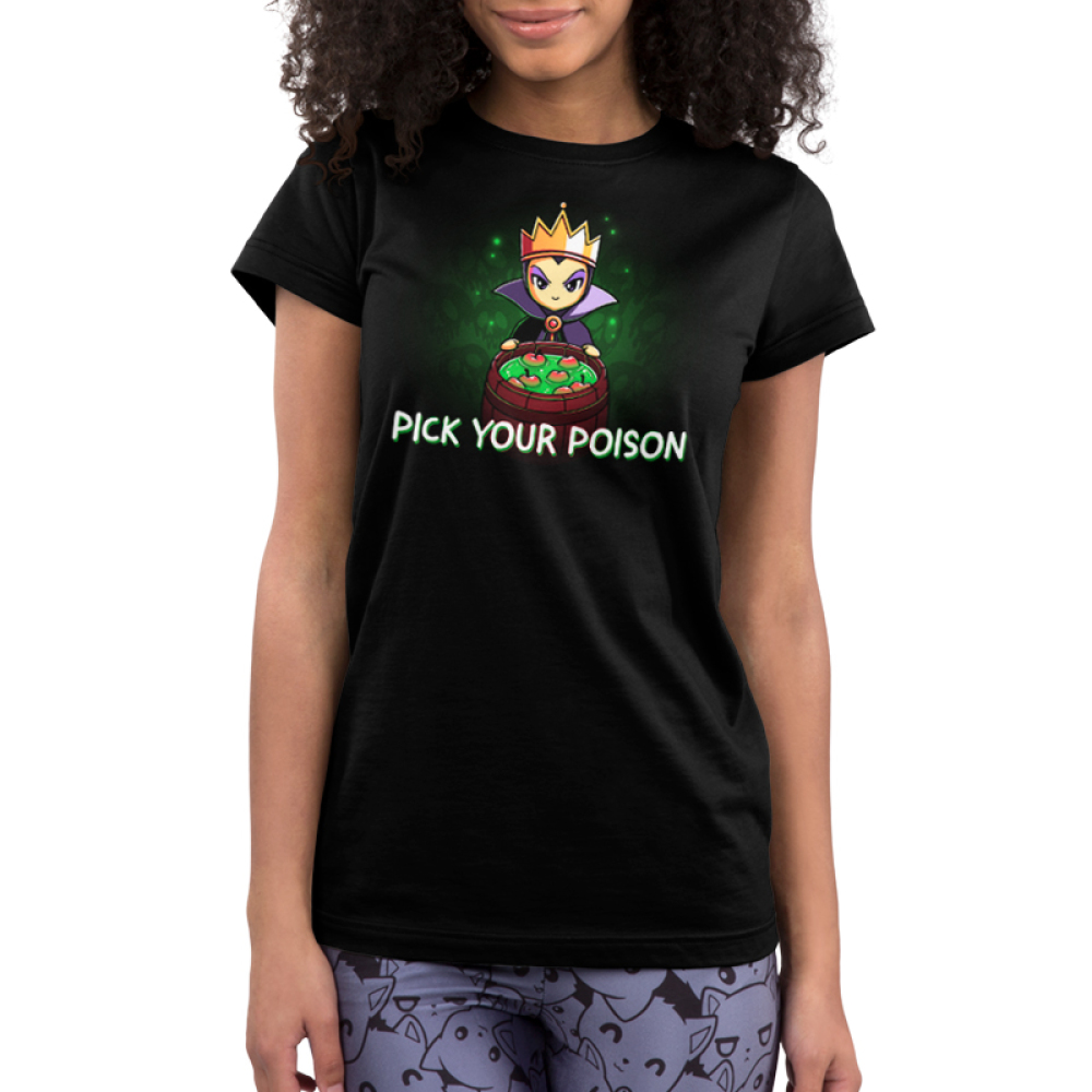 Pick your poison juniors tshirt model  officially licensed black tshirt featuring the evil queen from snow white with a bucket of poison apples