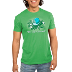 Be-leaf in Yourself! Men's t-shirt model TeeTurtle apple green t-shirt featuring a light blue snail eating a life in its mouth on a pile of green leaves and white flowers
