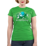 Be-leaf in Yourself! Junior's t-shirt model TeeTurtle apple green t-shirt featuring a light blue snail eating a life in its mouth on a pile of green leaves and white flowers
