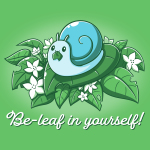 Be-leaf in Yourself! t-shirt TeeTurtle apple green t-shirt featuring a light blue snail eating a life in its mouth on a pile of green leaves and white flowers
