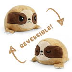 A happy brown reversible sloth plushie flipping to an angry blue reversible sloth plushie.