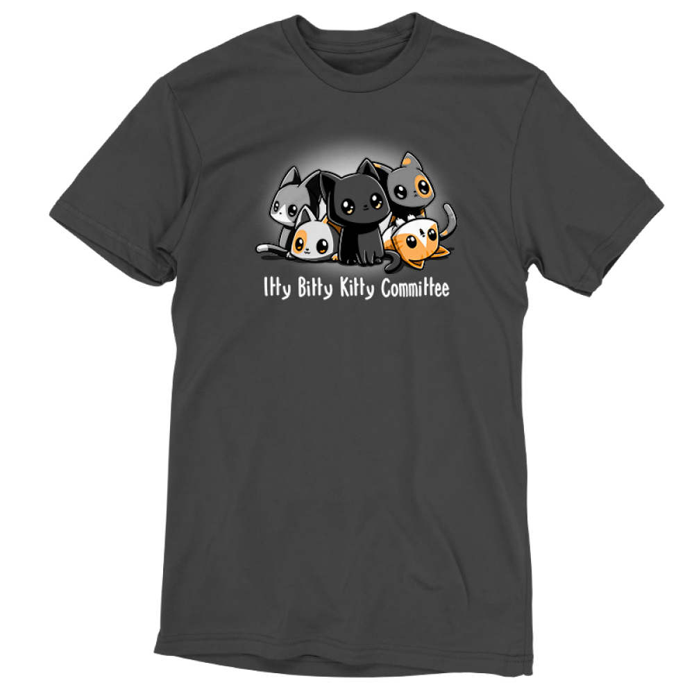 Itty Bitty Kitty Committee silver tshirt featuring lots of cats