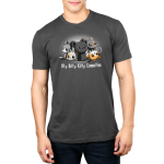 Itty Bitty Kitty Committee silver  mens tshirt model  featuring lots of cats